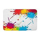 Adowyee 20'x30' Bath Mat Blue Splash Splatter Color Red Paint Brush White Rainbow Cozy Bathroom Decor Bath Rug with Non Slip Backing