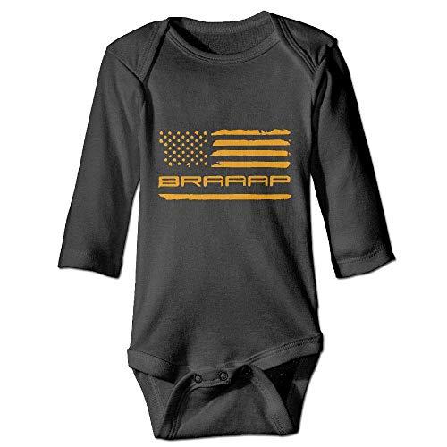 LittleHorn Braaap Dirt Bike Baby Long Sleeve Playsuit Newborn Bodysuit Outfit Clothes Black, 0-6 Months