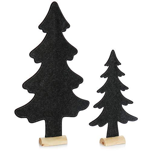 com-four® 2X dekorativer Aufsteller für Weihnachten - Tannenbaum aus Filz mit Fuß aus Massivholz - Weihnachtsbaum als Deko oder Geschenk (02 Stück Tanne 41cm 61cm dunkelgrau)