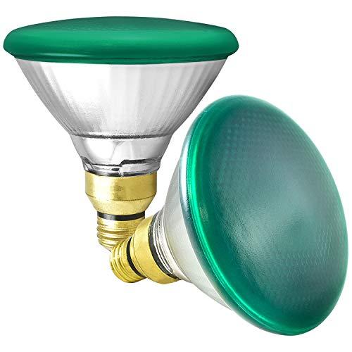 GE 85 Watt Halogen PAR38 Outdoor Flood Light Bulbs, Green Light Bulb, Glass, 120V, Wet Rated, E26 Medium Base (2 Pack)