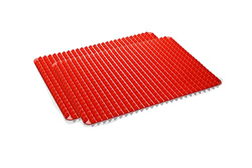 Wolecok Silicone Pyramid Pan,16 x 11 inches Large Red Pyramid Baking Mat, Cooking Pan Oven Tray Baking Sheet Pastry Cooking Mat 2 Pack(Red))