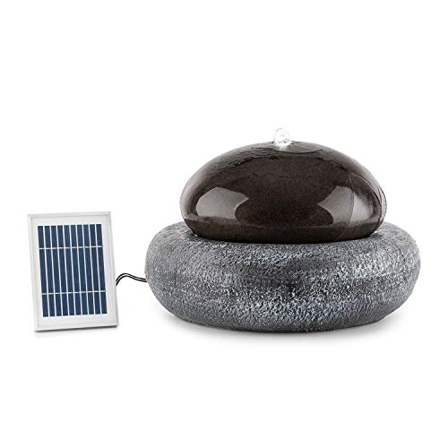 blumfeldt Ocean Planet Solar Fountain - Water Feature, Ornamental Fountain, Garden Fountain, 200 l/h, Solar Panel, 2 Watts, Built-in Battery, LED, Extra-Long Connecting Cables, Polyresin