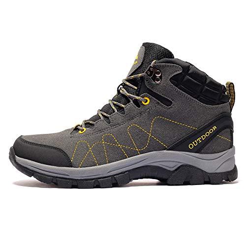 CXQWAN Hommes Plus Velours Chaussures De Marche en Plein Air, Bottes d'escalade Anti-Slip Escarpins À Lacets pour Randonner Voyager Randonnée Randonnée Camping,Gris,45