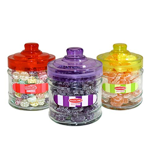 Tarro De Cristal Con 200 Gramos De Caramelos Duros Gajos Naranja Limon Moras Y Violetas