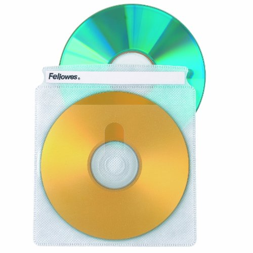 Fellowes CD Sleeves 100 CD Capacity Clear Vinyl Double Sided-50-Pack White