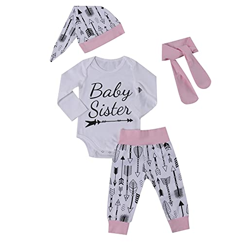 Girl 's Printed 4Pcs Clothes Set, Long Sleeve Triangle Crotch Romper Tops with Printed Long Pants, Headband and Hat (Pink, 6-12m)