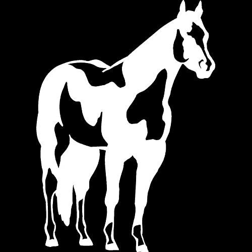 SIENJIA Pegatinas de coche 12,8 cm * 18 cm caballo de pie Pony pintura de potro musting heno hierba Ranch vinilo calcomanía coche pegatina negro / plata