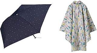 【セット買い】ワールドパーティー(Wpc.) 雨傘 折りたたみ傘 ネイビー 50cm 超軽量90g  ジェムリボン ミニ AL-012 NV+レインコート ポンチョ レインウェア ツリー FREE レディース 収納袋付き R-1093