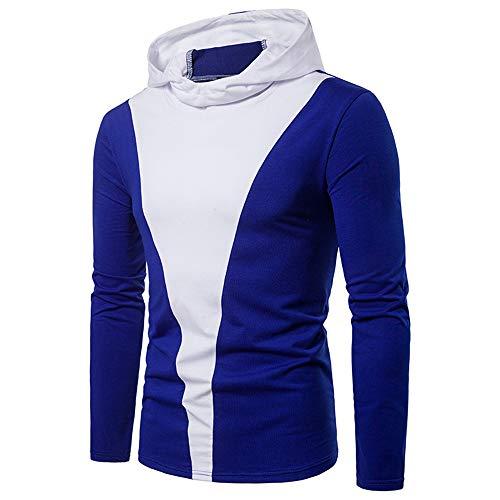 Sudadera de los hombres de moda primavera y otoño de manga larga casual cómodo trabajo jersey clásico costura sudadera con capucha deportes camisa