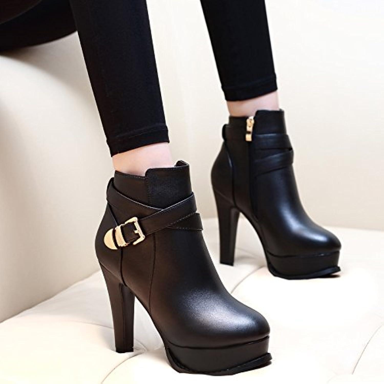 GTVERNH-Die Koreanischen Version Von Martin Stiefel Wasserdichte Schuhe Mit Dicken Alle Mit Einheitlichen Stiefel High Heels Der Weibliche Akt Stiefel