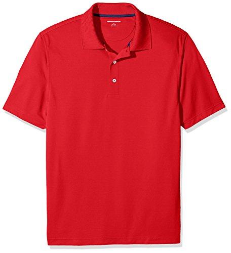 Amazon Essentials Herren Poloshirt Regular-fit Quick-dry Stripe Golf Polo Shirt, Rot (Red), XXL