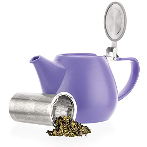 Tealyra  Jove Porcelain Large Teapot Violet  340ounce 34 cups  Japanese Made  Stainless Steel Lid and ExtraFine Infuser To Brew Loose Leaf Tea  1000ml