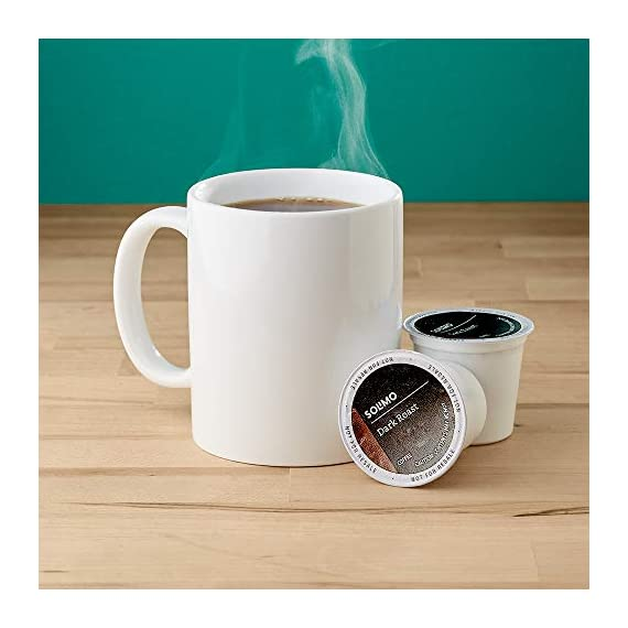 Amazon Brand - 100 Ct. Solimo Dark Roast Coffee Pods, Compatible with Keurig 2.0 K-Cup Brewers 4 48 single serve cups (24 Dark Roast, 24 Colombian Medium Roast) DARK ROAST – Blend of select coffees from Latin America, Africa, and Indonesia. Full-bodied coffee with a hearty punch but mild acidity for a smooth finish. COLOMBIAN – Harvested in regions of Colombia where the coffee is renowned for its rich, mild flavor. Medium body and acidity complemented by a floral aroma for enticing depth