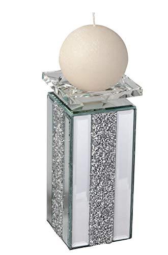 Lifestyle & More Moderne kandelaar kandelaar met kristallen in elegant design en geslepen glas hoogte 20 cm