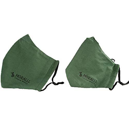 Moralll 2 Pack Forest Green Designer Cotton Face Masks 2 Cut designs Unisex