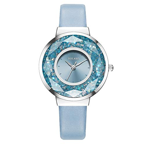 JZDH Relojes para Mujer Moda Hombres Relojes Mujeres Ladies Correa de Cuero Analógico Reloj de Pulsera de Cuarzo Pulseras Relojes Decorativos Casuales para Niñas Damas (Color : Sky Blue)