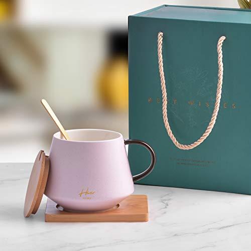 Juego de tazas de café de cerámica Hivexagon con tapa de madera, taza de regalo con asa, posavasos, cuchara de té. Perfecto para té y bebidas calientes, caja de regalo con una taza de 13,5 oz