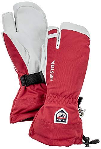 HESTRA Damen Army Leather Heli Ski 3-Finger Handschuhe, red, XS
