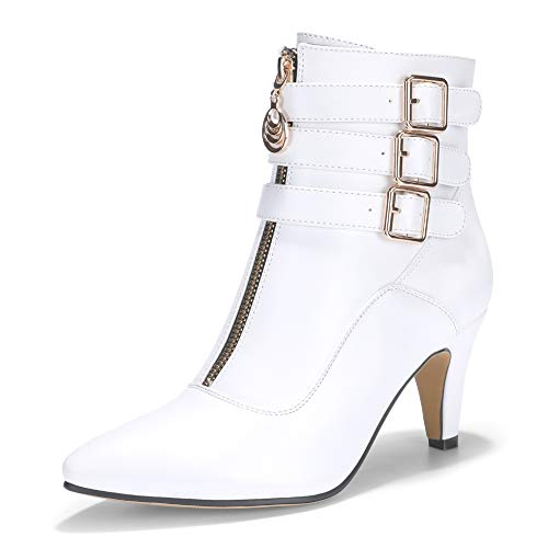 IDIFU Women's Buckle Strap Ankle Booties 3 Inch Pointed Toe Zipper Heels Dress Jeans Boots (White, 5.5 M US)