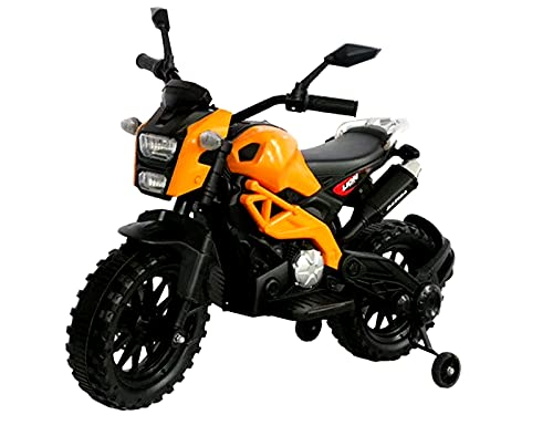 Eletric Motorcycle for Kids Ride on Motorcycle, Tamco 12V Electric Dirt Bike with Training Wheels Hand Racing Foot Brake PU seat Ride on Motorcycle for 3~6 Years Boys Girls Gift (Orange)