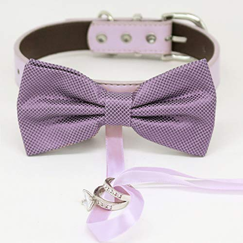 Dusty Lavender bow tie collar Leather honor of discount ring b Max 54% OFF dog