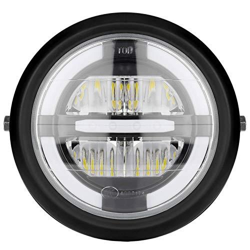 Andifany 12V Universal Motorcycle Head Light Lamp 7.5 Inch Motorbike Refit Headlight Black Round White Light Assembly