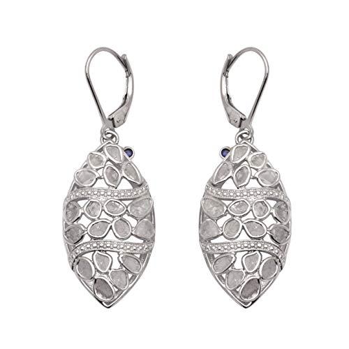 Pendientes colgantes redondos de zafiro azul y polki de diamantes naturales sin cortar hechos a mano de 2.50 quilates, plata de ley 925