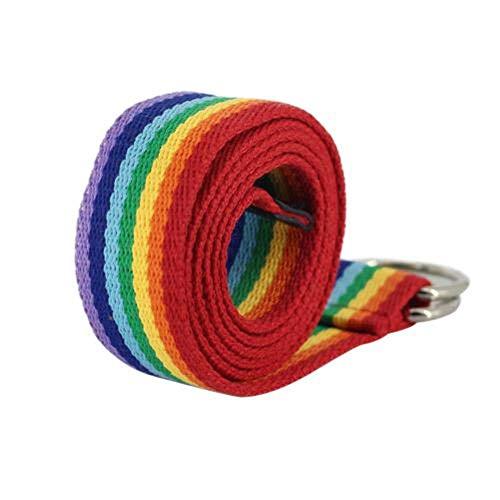 Sosa 130 cm doble anillo de lona cinturón de cintura color arco iris rayas correa cintura arco iris pendientes forma de corazón llaveros, multicolor