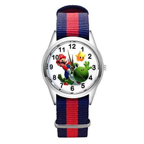 LINGJIA Reloj Super Mario para niños 5 Unids / Lote Moda De Dibujos Animados Pretty Mario Style Relojes Mujeres Niñas Estudiantes Niños Niños Correa De Nylon Reloj De Pulsera De Cuarzo Clcok