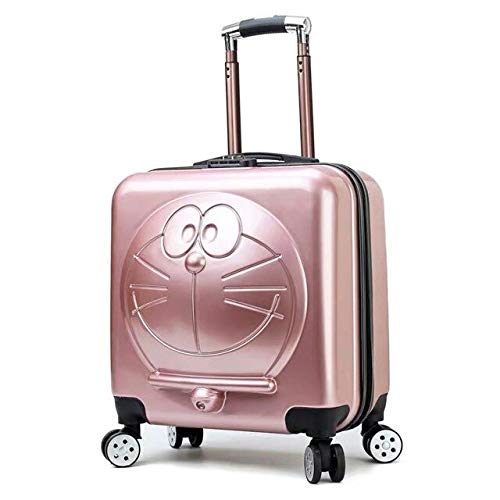 Mdsfe New Children Cartoon Luggage 3D Cat Luggage Rolling Wheels Trolley Suitcase Bag Cute kids Suitcase with wheels - Rose Gold, 18'