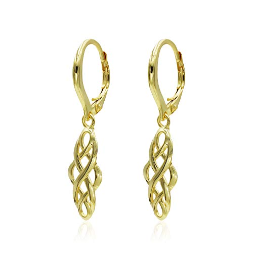 Yellow Gold Flashed Sterling Silver Filigree Celtic Knot Spiral Twisted Leverback Dangle Earrings