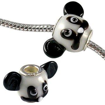 Bling Bling GlitZ Damen Murano Glas Perlenanhänger mit silbernem Überzug in Mickey Maus form Weiss