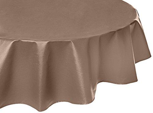 Nappe Ovale anti-tache imperméable 160x200cm Uni Taupe par Fleur de Soleil - coton enduit - sans solvant - sans phtalate - 100% fabrication française