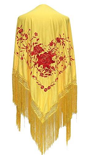 La Señorita Mantones bordados Flamenco Manton de Manila amarillo flores rojo...