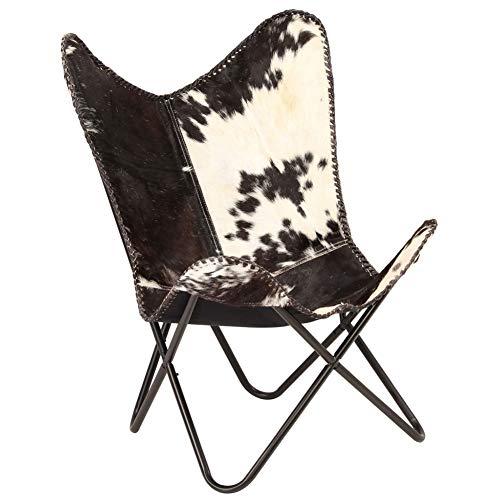 GOTOTOP Sedia a farfalla, struttura in acciaio, con capra vera nera e bianca, 74 x 66 x 90 cm