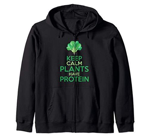 Divertido Brócoli Vegetariano Keep Calm Plants Have Protein Sudadera con Capucha