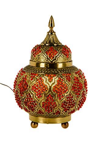 Orientalische Messing Tischlampe Lampe Alyah 28cm in Gold | Marokkanische Tischlampen klein Lampenschirm goldfarben | kleine Nachttischlampe modern für Vintage Retro & Landhaus Stil Design