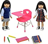The New York Doll Collection Doll Back to School Set - Doll School Desk ,School Supply Set for Dolls and School Uniform Clothing Fits 18 Inch Girl Dolls, E154