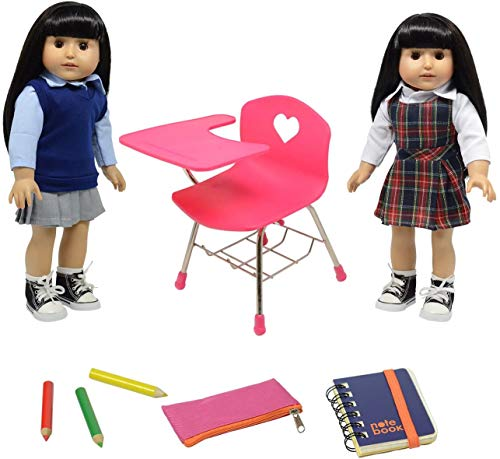 Doll Back to School Set - Doll School Desk ,School Supply Set for Dolls and School Uniform Clothing Fits 18 Inch Girl Dolls