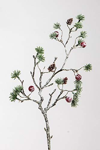 formano Winter Zweig Tanne Beere Zapfen 48 cm Kunstblume Tischdeko Winterdeko Advent