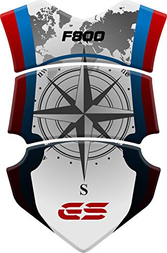 PARASERBATOIO ADESIVO, RESINATO EFFETTO 3D compatibile con B.M.W. F 800 GS - ADV Adventure fino al 2015 (Blue/Red)