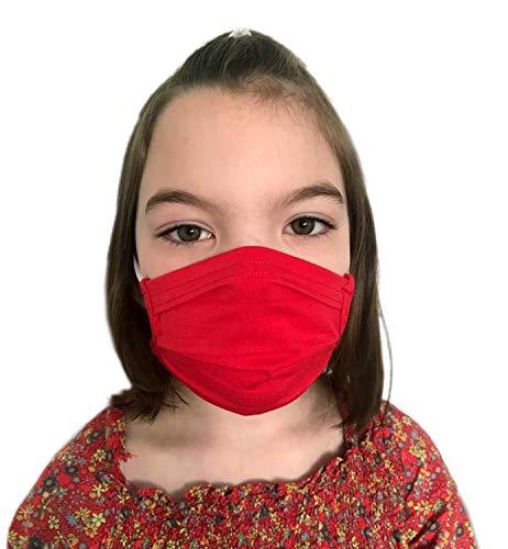GymStern Stoffmaske Mundbedeckung Behelfsmaske Mundschutz Gesichtsmaske Kinder & Erwachsene Baumwolle waschbar wiederverwendbar Rot Größe Teenager 16x6 cm