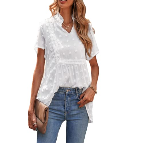 Blusa de Color sólido con Cuello en V para Mujer, Camiseta de Manga Corta Holgada con Estampado de Bordado a la Moda, cómoda Tendencia, Todo fósforo L
