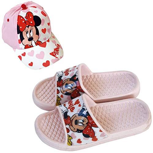 Chanclas Minnie Mouse Disney Flip-Flop para Playa o Piscina + Gorra Disney Minnie Mouse para Niñas (Rosa, Numeric_30)