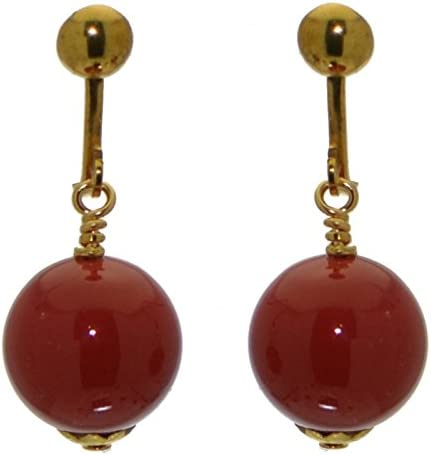 LINDSEY 12mm gold plated red coral clip on earrings