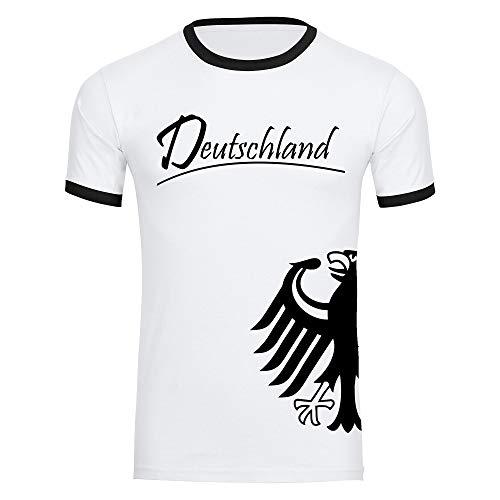 T-Shirt Deutschland Trikot Adler seitlich Herren weiß/schwarz Gr. S - 3XL - Fanshirt Fanartikel Fanshop Trikot Fußball EM WM Germany,Größe:L,Farbe:weiß