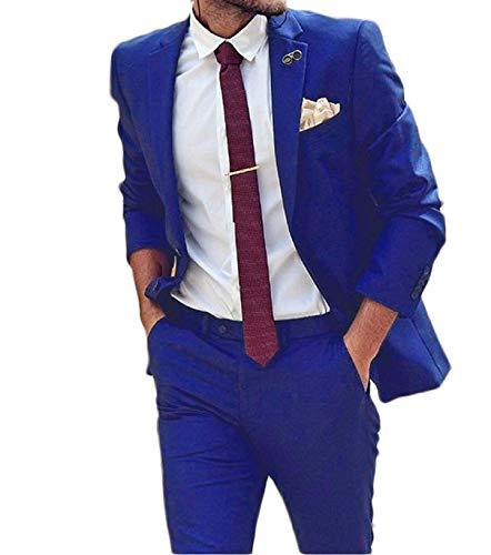 P.L.X Herren Anzug Zweiteiliger Glanzanzug Sakko mit Hose Slim Fit Blazer