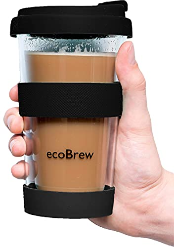 ecoBrew Double Wall Glass Tumbler To Go, Reusable Coffee & Tea Cup, 12oz Insulated, Clear Travel Mug with Anti-Splash Silicone Lid, Portable, Microwavable - Black