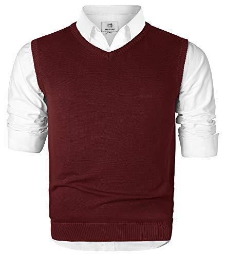 MOCOTONO Men's V-Neck Cotton Sleeveless Sweater Casual Vest Wine Red Medium
