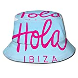 LLALUA Unisex Summer Fisherman Cap,Hola Ibiza Lettering Calligraphy Wind Boats On The Ocean with Seagulls,Travel Beach Outdoor Sun Hat